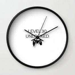Gamers 30th Birthday Level 30 Unlocked Slogan Wall Clock