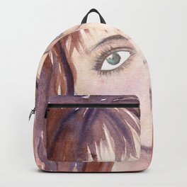Portrait of a girl with green eyes and brown hair Backpack