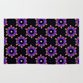 Purple Jewel Pattern - Black Rug