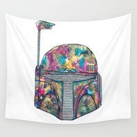 boba fett Wall Tapestries featuring Boba Fett Galaxy by Happy Jack