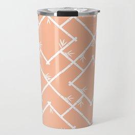 Bamboo Chinoiserie Lattice in Peach + White Travel Mug
