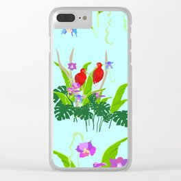 Scarlet ibis and orchids pattern Clear iPhone Case