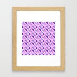 Pretty beautiful cute purple blue hummingbirds, delicate twigs with little leaves seamless pink patt Framed Art Print
