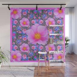 Pink Wild Roses & Blue Flowers Art Pattern Wall Mural