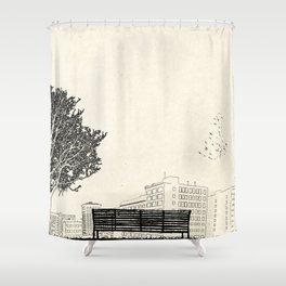 Tom's Favourite Spot —Angels Knoll Park, LA —(500) Days of Summer Shower Curtain