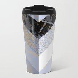 Chevron Pattern 2. Blue, Marble and Glitter #decor #buyart Travel Mug