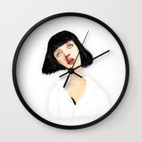 mia wallace Wall Clocks featuring Mrs Mia Wallace by Dobleu