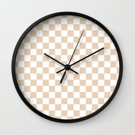 Small Checkered - White and Pastel Brown Wall Clock