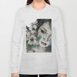 Cleopatra's Sling (flower tattoo lady portrait drawing) Long Sleeve T-shirt