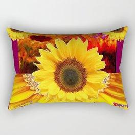 BURGUNDY MODERN YELLOW  SUNFLOWERS ABSTRACT DESIGN Rectangular Pillow