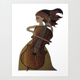 Girl with Cello Art Print