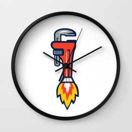 Pipe Wrench Rocket Booster Side Retro Wall Clock