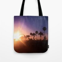 coachella Tote Bags featuring Coachella Sunset by Laura Hanson