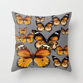 DECORATIVE BUTTERSCOTCH & TOFFEE BROWN BUTTERFLIES ART Throw Pillow
