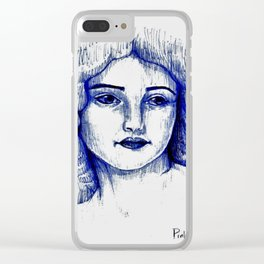 Vitage Girl Clear iPhone Case