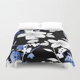 Black White Blue Floral Duvet Cover