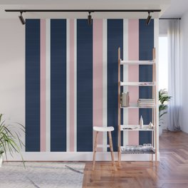 Navy & Pink Stripes Wall Mural