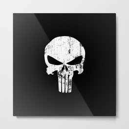 The Punisher Logo Black Background Metal Print