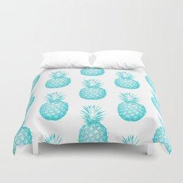 Teal Pineapple Duvet Cover