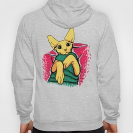 Yellow Cat in a Green Sweater - Sphynx Cat Illustration Hoody