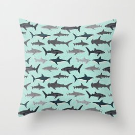 Sharks nature animal illustration texture print marine biologist sea life ocean Andrea Lauren Throw Pillow