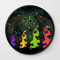 aliens Wall Clocks featuring aliens by vidikay