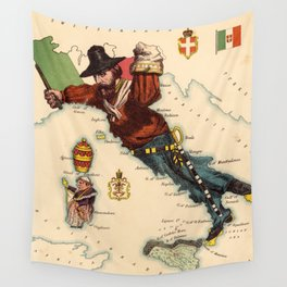 Vintage Illustrative Map of Italy (1869) Wall Tapestry