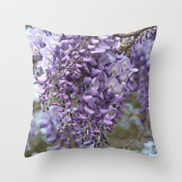 Spring Botanical -- Wisteria Lane, Boldly -- Floral Purple, Lavender and Orchid Landscape Throw Pillow