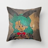 dragon ball Throw Pillows featuring First Lady Of Dragon Ball  by Artistic