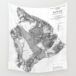 Vintage Map of Hawaii Island (1906) BW Wall Tapestry