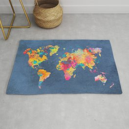 world map blue 2061 #map #worldmap Rug
