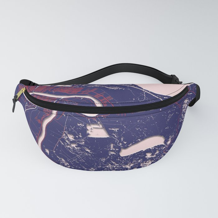 New Orleans, LA, USA, Blue, White, City, Map Fanny Pack