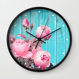 Pink Roses On Turquoise Blue Wood Wall Clock