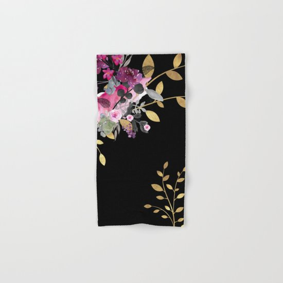 FLOWERS & GOLD  Hand & Bath Towel