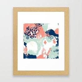 Kayl - abstract painting minimal coral mint navy color palette boho hipster decor nursery Framed Art Print