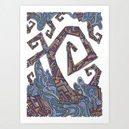 Wandering Abstract Line Art 08: Yellow Art Print