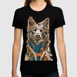 portrait of a Australian Kelpie Dog with rescue dog harness        - Image T-shirt