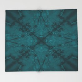 Green star kaleidoscope pattern Throw Blanket