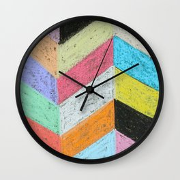 Broken Chevron Chalk Art Wall Clock