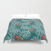 virginia Duvet Covers featuring Virginia Rose by Holly Helgeson