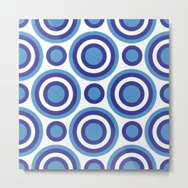 Circle Circle:  Turquoise, White + Navy Metal Print