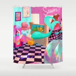 Retro Undersea Diner! Shower Curtain