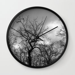 Witchy black and white tree Wall Clock