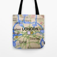 london map Tote Bags featuring London Map by Brian Raggatt