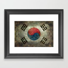 National flag of South Korea, officially the Republic of Korea, Vintage version to scale Framed Art Print