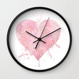 Heart Art Colorful Pink Watercolor Gift Love Art Valentine's Day Art Wedding Gift Romantic Art Wall Clock