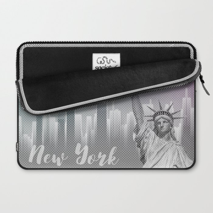 Graphic Art NEW YORK Mix No. 4 | funky cyan and pink Laptop Sleeve