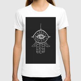 Hamsa Hand White on Black #1 #drawing #decor #art #society6 T-shirt