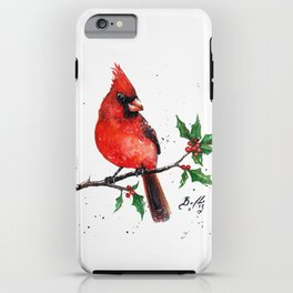 Cardinal + Holly iPhone Case