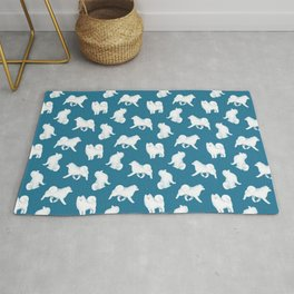 Samoyed Pattern (Blue Background) Rug